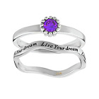 more details on Virtue Silver Amethyst coloured Cubic Zirconia Ring-Set of 2