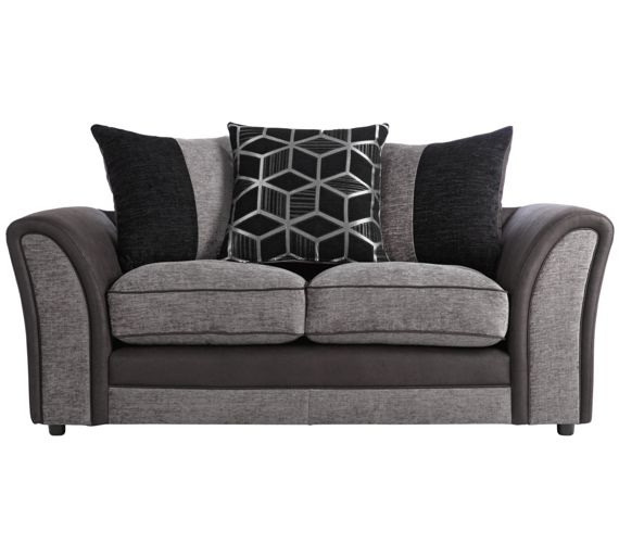 buy collection rhiannon 2 seat fabric leather eff sofa black at your online shop. Black Bedroom Furniture Sets. Home Design Ideas