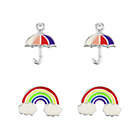 more details on Sterling Silver Enamel Rainbow and Umbrella Studs - Set of 2