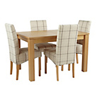 more details on Swanbourne Extendable Table and 4 Check Chairs.