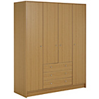 more details on HOME New Malibu 4 Door 3 Drawer Wardrobe - Oak Effect.