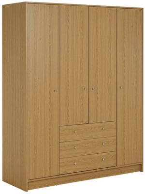 Buy Home New Malibu 4 Door 3 Drawer Wardrobe Oak Effect