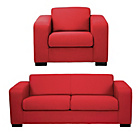 more details on Hygena Ava Large Fabric Sofa and Chair - Red.