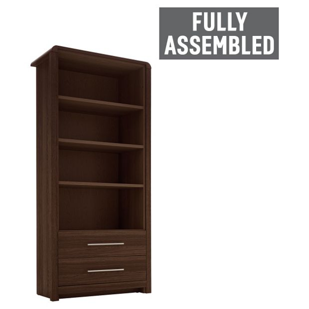 Buy heart of house elford 2 drawer bookcase walnut effect at your online shop Walnut effect living room furniture