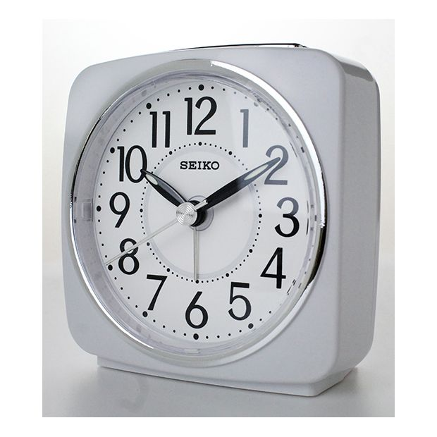 buy seiko white sweep second hand square alarm clock at your online shop for. Black Bedroom Furniture Sets. Home Design Ideas