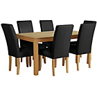 more details on Collection Hampshire 160cm Dining Table & 6 Chairs-Oak/Black