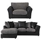 more details on HOME New Bailey Large Left Cnr Sofa/Snuggle Chair - Charcoal