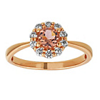 more details on 9ct Rose Gold Plated Silver CZ and Morganite Halo Ring.