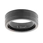 more details on Stainless Steel Black 2 Groove Ring.