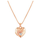 more details on 9ct Rose Gold Plated Silver Diamond Set Heart Locket Pendant