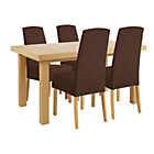 more details on Collection Langford Ext Table and 4 Chairs -Oak Veneer/Choc.