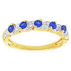more details on 18ct Gold Plated Silver Blue Sapphire and Diamond Ring.