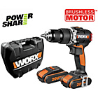 Worx 2AH Brushless Hammer Drill with 2 Batteries - 20V