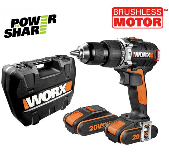 buy worx 2ah brushless hammer drill with 2 batteries 20v. Black Bedroom Furniture Sets. Home Design Ideas