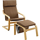more details on HOME Bentwood Fabric Chair and Footstool - Chocolate.