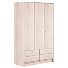 more details on HOME New Malibu 3 Door 4 Drawer Wardrobe - Beech Effect.