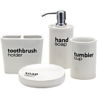 more details on Collection Ceramic Words Bathroom Set.
