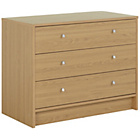 more details on New Malibu 3 Drawer Wide Chest of Drawers - Oak.