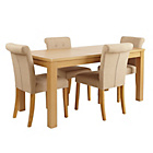 more details on Collection Sedgley Ext Table & 4 Chairs -Oak Veneer/Oatmeal.