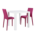 more details on Hygena Lyssa Small Table and 2 Chairs - White Gloss/Pink.