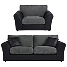 more details on HOME New Bailey Large Sofa and Snuggler Chair - Charcoal.