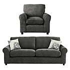 more details on HOME Tessa Large Fabric Sofa and Chair - Charcoal.