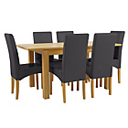 more details on Collection Swanbourne Ext Table & 6 Chairs-Oak Veneer/Black.