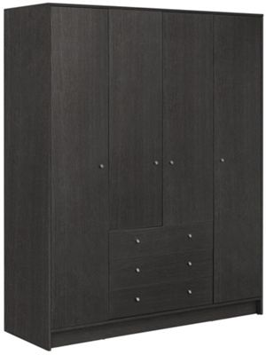 Buy Home New Malibu 4 Door 3 Drawer Wardrobe Black Oak