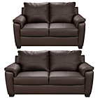 more details on HOME Antonio Large and Regular Leather Sofa - Chocolate.