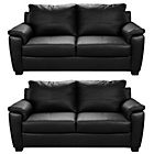 more details on HOME Antonio Regular and Regular Leather Sofa - Black.