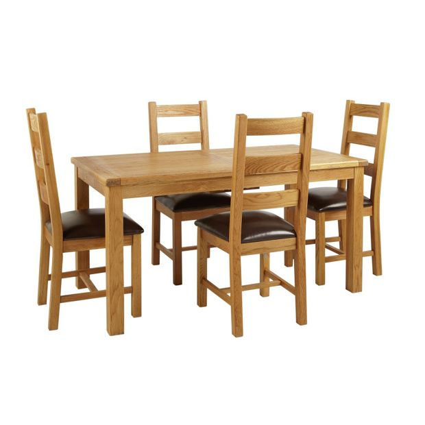 Buy Heart Of House Kent Oak Ext Table And 4 Farmhouse Chairs At Your Online Shop