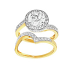 more details on 18ct Gold Plated Silver 2ct Look Cubic Zirconia HaloRing Set