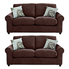 more details on HOME Tessa Regular and Regular Fabric Sofa - Chocolate.