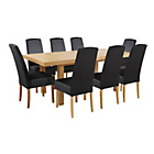 more details on Collection Langford Ext Table and 8 Chairs-Oak Veneer/Black.