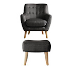 more details on Hygena Otis Fabric Chair and Footstool - Charcoal.