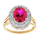 more details on 18ct Gold Plated Silver Created Ruby and Diamond Accent Ring