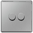 more details on Masterplug 2 Gang 2 Way Dimmer Switch - Brushed Steel.