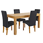 more details on HOME Linwood Table and 4 Black Skirted Chairs.