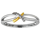 more details on Sterling Silver with 9ct Gold Plated Diamond Kiss Ring.