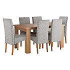 more details on HOME Paxton Dining Table &6 Skirted Chairs-Oak Veneer/Floral