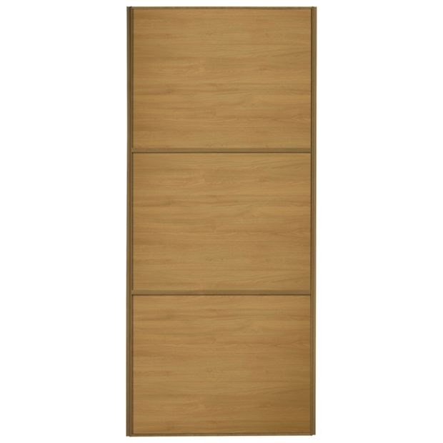 buy sliding wardrobe door w762mm 3 panel oak at. Black Bedroom Furniture Sets. Home Design Ideas