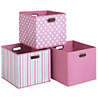 more details on Pink Canvas Storage Boxes - 3 Pack.