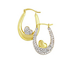 more details on 9ct Gold Plated Silver Crystal Reverse Heart Creole Earrings