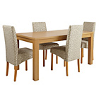 more details on HOME Linwood Table and 4 Floral Skirted Chairs.