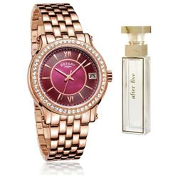 Rotary Rose Gold Bracelet Womens Watch and Perfume Set