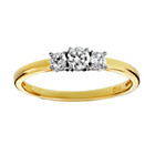 more details on 9ct Gold Cubic Zirconia 3 Plain Stone Shoulder Ring.