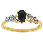 more details on 9ct Gold Oval Black Sapphire and Diamond Accent Ring.