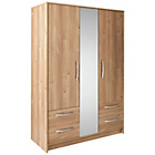 more details on Collection Tilbury 3 Dr 4 Drawer Mirror Wardrobe-Oak Effect.