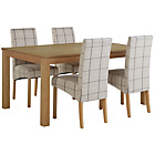 more details on Collection Burford Fixed Table & 4 Chairs -Oak Veneer/Check.