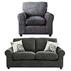 more details on HOME Tessa Regular Fabric Sofa and Chair - Charcoal.